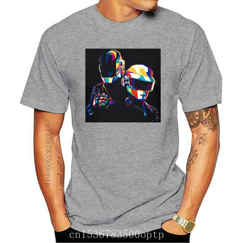 Novo daft punk colorido t camisa de algodão tamanho grande manga curta personalizado camisa masculina