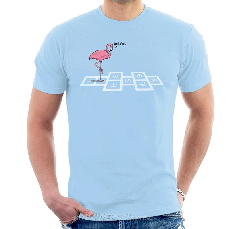 Impresso camiseta Pulando Flamingo T-Shirt mulheres camiseta masculina dos homens