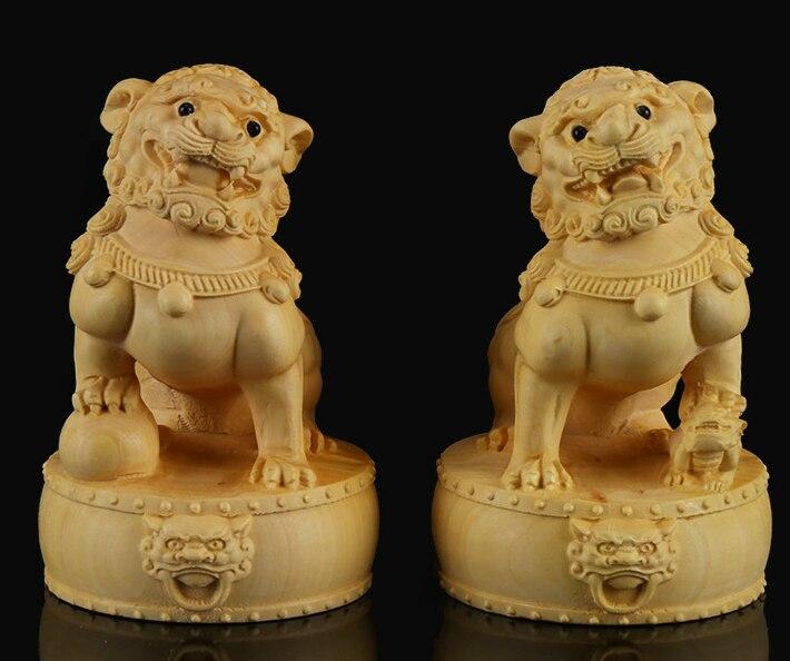 "2,8 ""China caja exquisita-Madera tallada a mano pie Fu perro pequeño León tambor estatua par"
