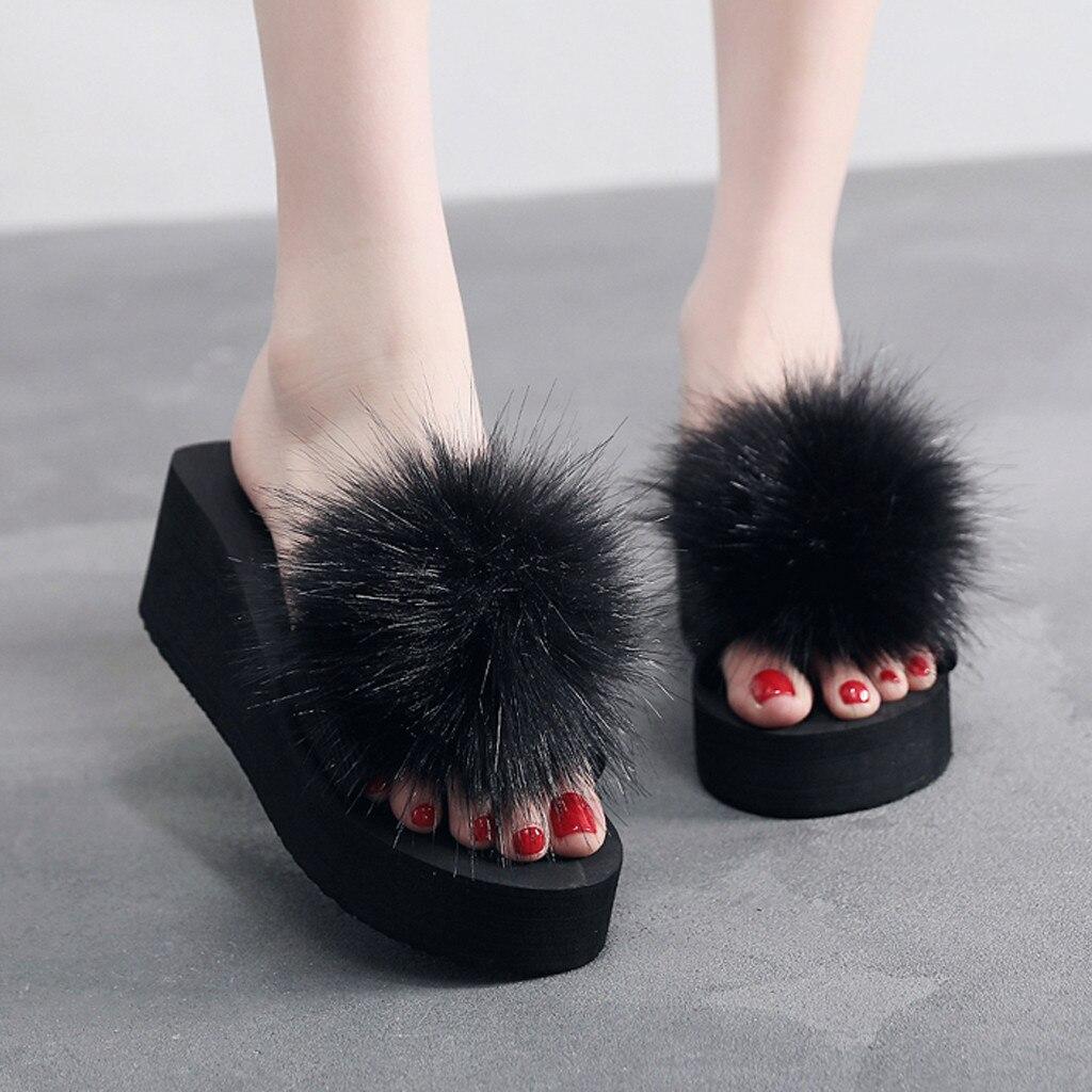 Zapatos de cuña de tacón alto para mujer, zapatillas de bola peludas de invierno, zapatillas antideslizantes para interiores y exteriores, zapatos de mujer, chanclas deslizantes #25