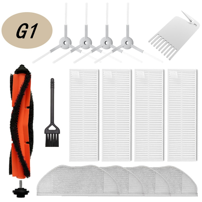 Whole Set Washable Accessories Suitable for Xiaomi SKV4136GL ,Main Side brush + Hepa Filter+Cloth Mop Parts Kits