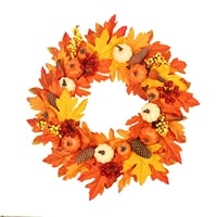 simulation pumpkin pine cone autumn decoration wreath white maple leaf vine circle wall hanging for thanksgiving apposite