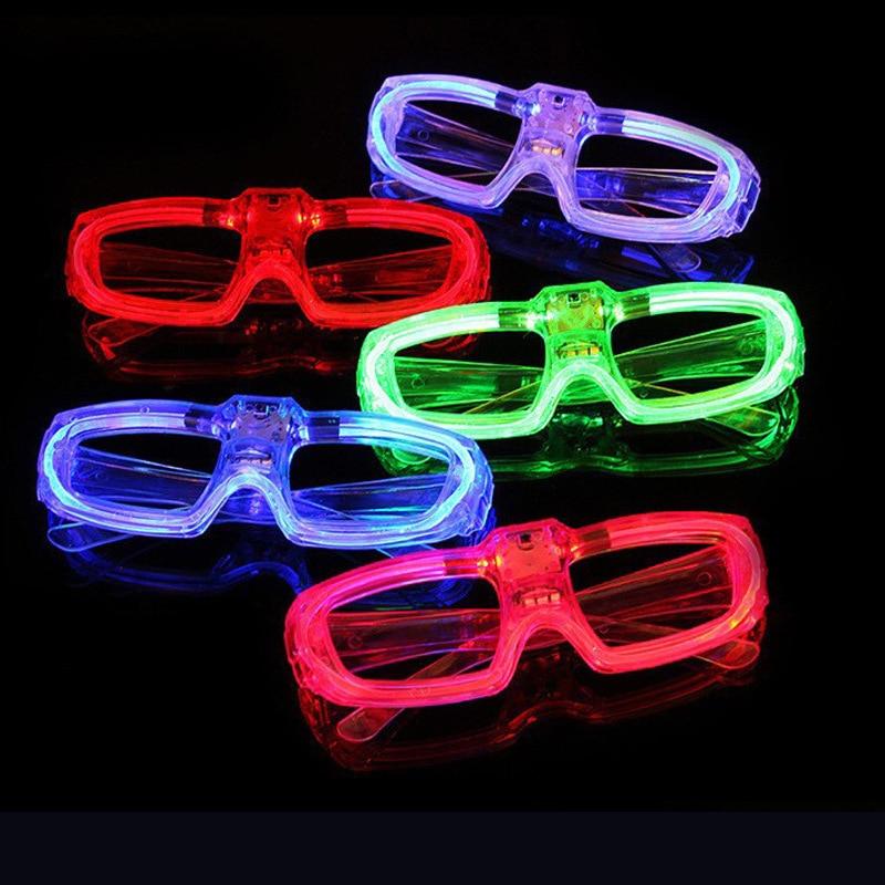 20 Uds gafas brillantes de Color rojo/verde/azul de Color sólido iluminadas gafas parpadeantes para fiestas y eventos suministros de decoración que brillan en la oscuridad