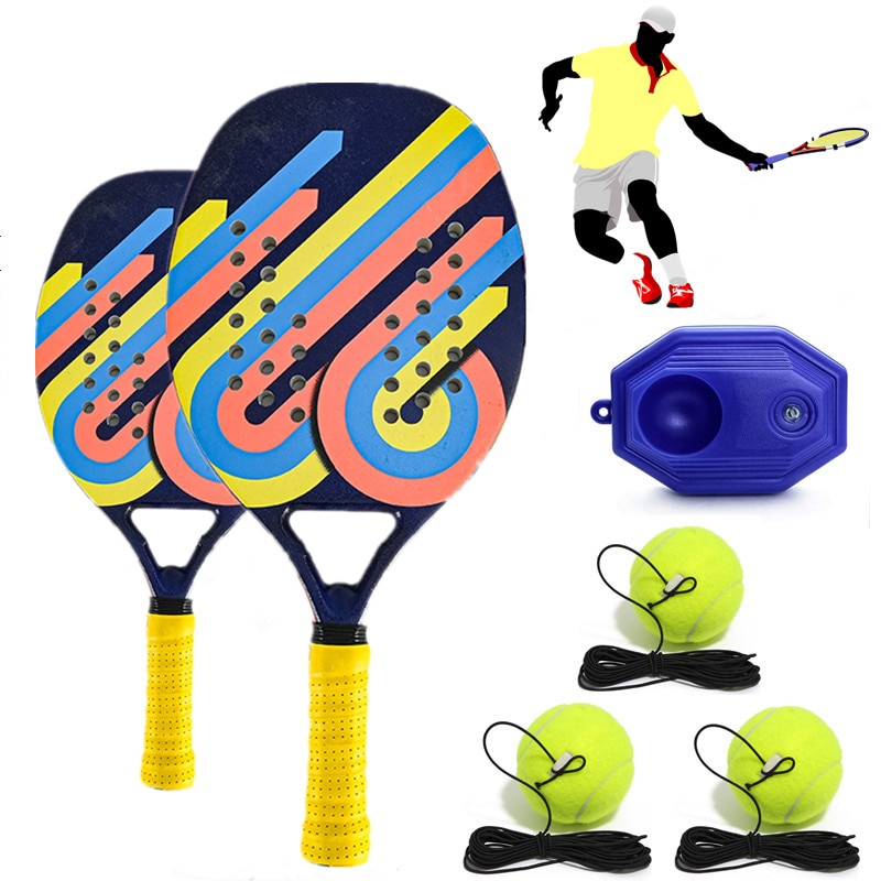 2021 Outdoor Sports Men's and Women's Beach Racket Carbon Fiber EVA Plate Racket Children's Racket Set Tennis Training Line