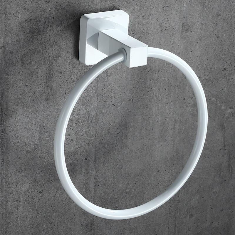 White Towel Ring Round Style Shape Wall-Mounted Towel Holder Hanger Bathroom Accessories Bath Towel Holder Bath Hardware