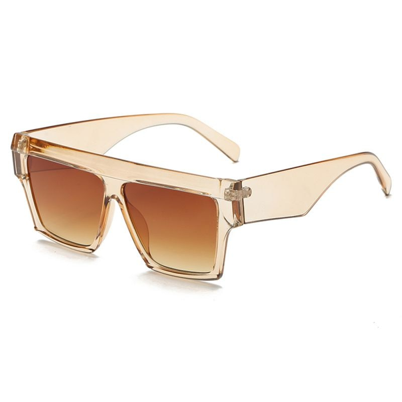 Fashion Retro Square Flat Top Crystal Frame Sunglasses Women Trendy Brand Designer UV400 Sun Glasses