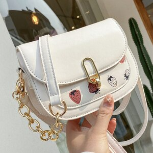 Strawberry Print Mini Saddle Crossbody Bags For Women 2021 Fashion PU Leather Women's handbags Ladies Shoulder Bag purse