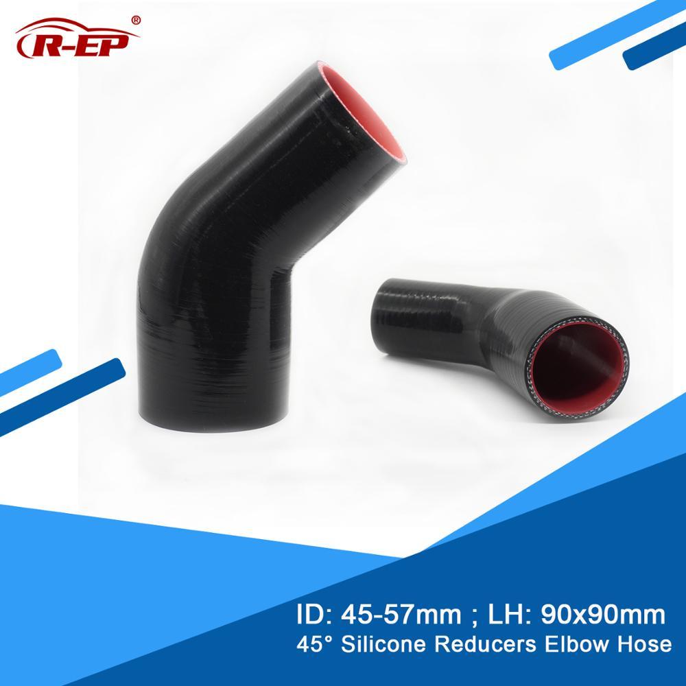 R-EP 45 graus redutor silicone cotovelo mangueira 45-57mm borracha marceneiro inter cooler para intercooler tubo novo silicone flexível