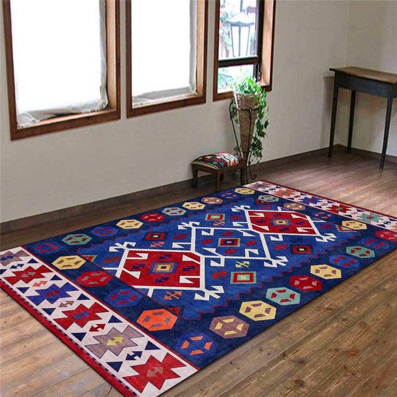 الموضة الفارسي العرقية على غرار البساط هندسية الظلام مزرق الأحمر السجاد غرفة نوم غرفة المعيشة المطبخ الحمام الكلمة حصيرة بطانية سرير