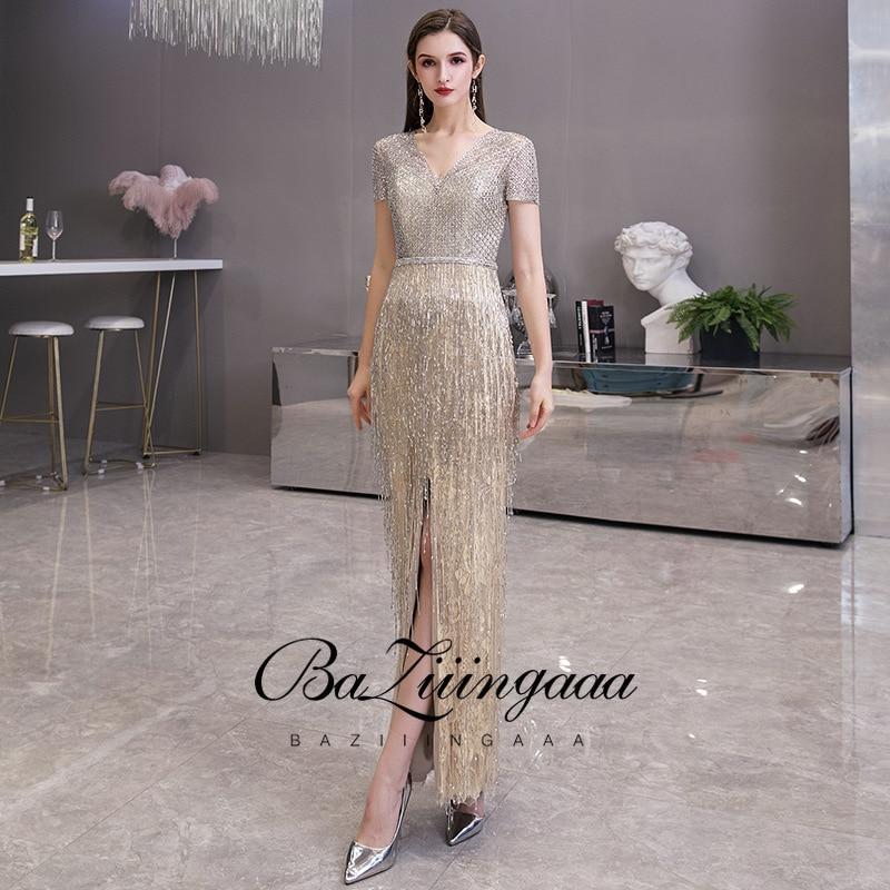 Baziingaa luxo frisado dourado vestido de noite sem mangas sereia borla design vestidos formais vestido de noite royal vestido dourado