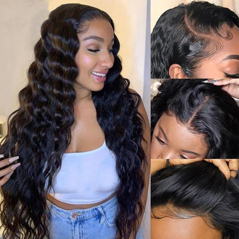 30 Inch Malaysian Loose Deep Wave Wig 13x6 Lace Front Human Hair Wigs For Women180 Density Remy 4x4 5x5 6x6 Lace Closure Wig