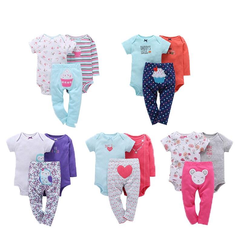 Ropa de moda para niña bebé, peleles de 3 uds, peleles, pantalones de algodón de dibujos animados, conjunto de ropa infantil, trajes de bebé, mono bebé
