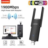 WI-FI адаптер USB беспроводной 1900 Мбит сетевой карты 650 Мбит/с PC WI-FI ключ USB LAN Ethernet Dual Band 2,4 г 5,8 WI-FI приемник для ПК