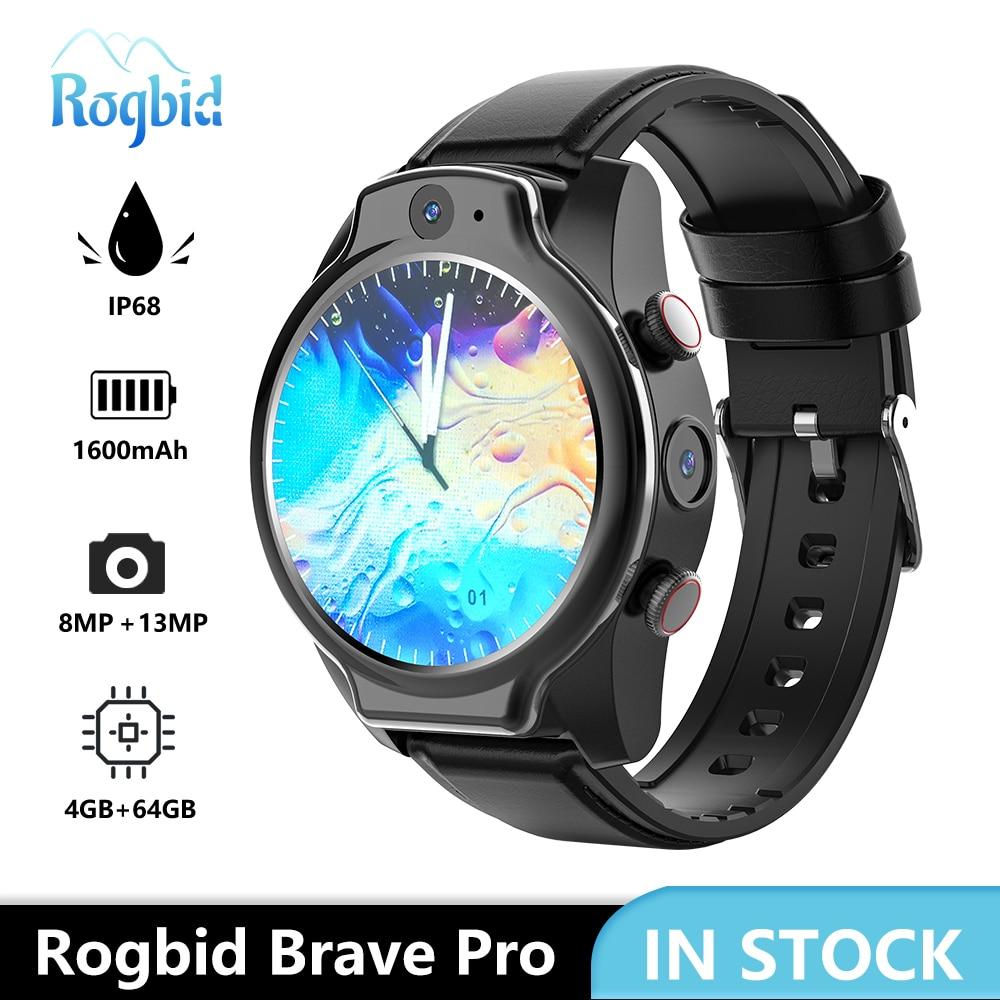 Rogbid-ساعة متصلة Pro 4G LTE ، ساعة ذكية ، Android 10 ، 4GB ram ، 64GB rom ، بطارية 1600mAh ، WIFI ، GPS ، كاميرا 13MP ، IP68 مقاوم للماء
