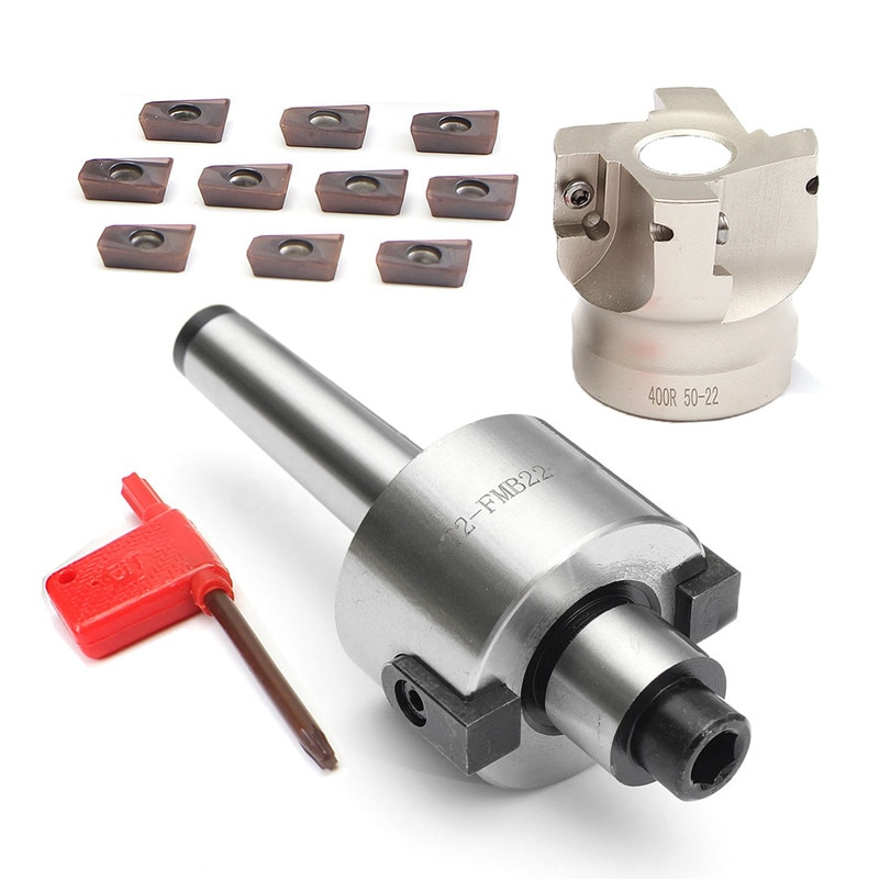 Nova mt2 m10 & 50mm face end mill cortador + 10 pçs apmt1604 carboneto de inserção chave cnc