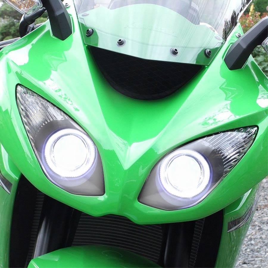 مجموعة المصباح الأمامي للدراجات النارية ، HID ، جهاز عرض تحويل LED ، Angel Demon Eyes DRL ، لـ Kawasaki Ninja ZX6R 09-12
