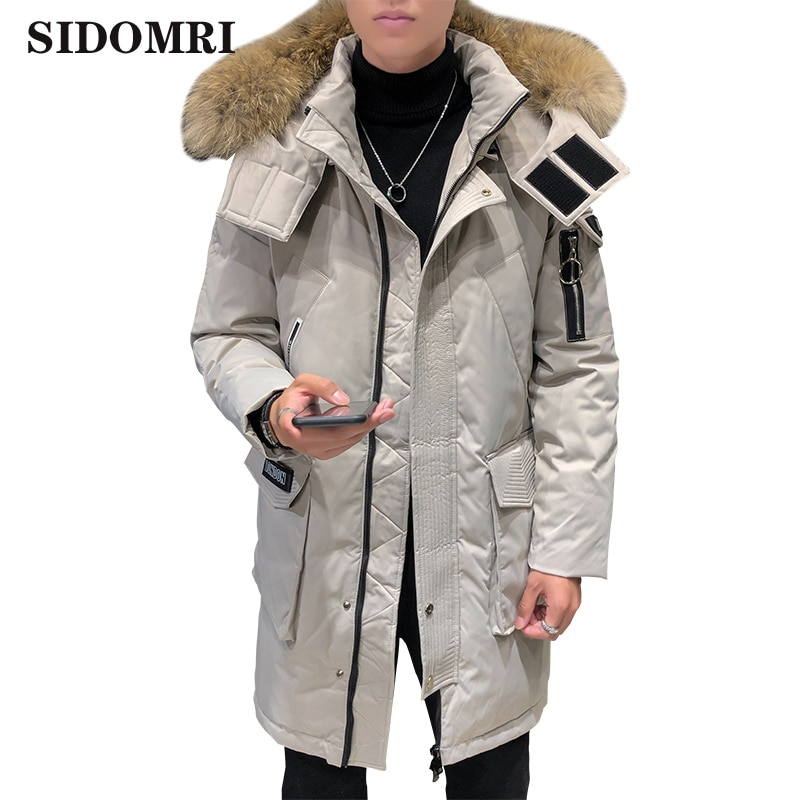 Men's Down Jacket Winter Big Fur Collar Korean Mid-Length Casual Hooded Thick warm white duck down Winter Jacket
