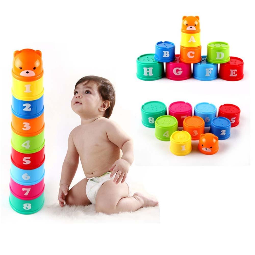 9 sztuk Mini niedźwiedź kubek do nakładania edukacyjne zabawki dla dzieci kolor tęczy dzieci figurki składane wieża śmieszne stosy puchar numer list zestawy zabawek