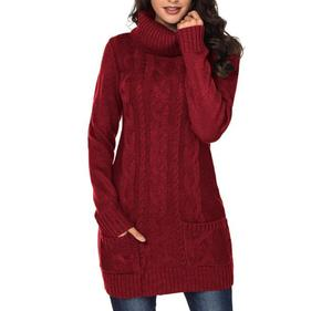 2019 Winter Warm Dress Large Size Long Sleeve Women's Solid Color Knitted Dresses Casual High Collar Sweater Dress Female