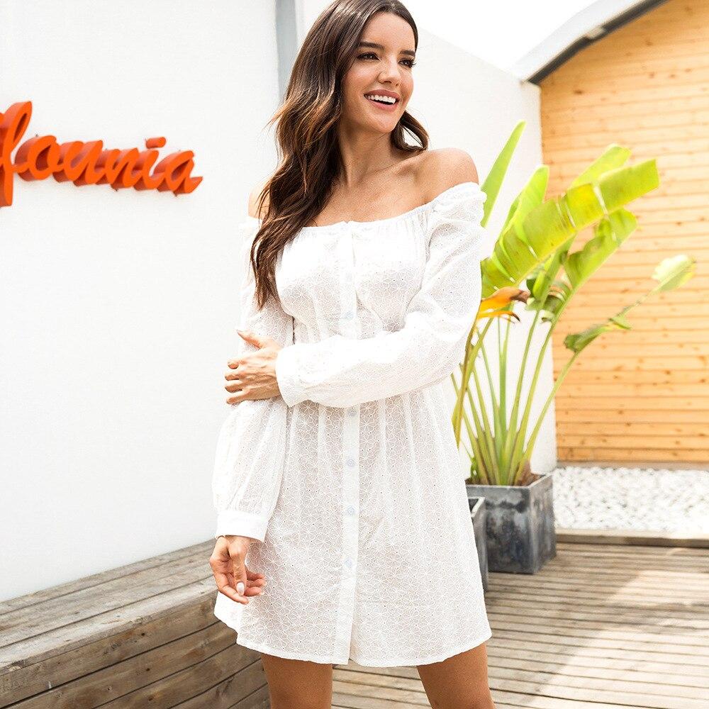 Vintage bordado blanco vestido de mujer de hombro de manga larga vestido Bodycon Vestidos 2019 otoño botón Up Fiesta Club Vestidos