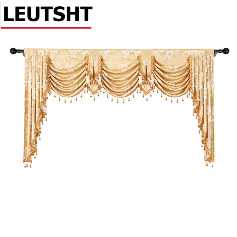 الأوروبي الستارة الملكي Pelmet قماش الجاكار الفاخر نافذة التعتيم المظلة الستائر لغرفة المعيشة غرفة نوم