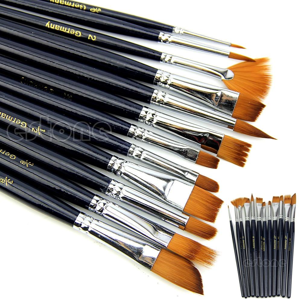 12pc Watercolors Brush Acrylic Oil Art Craft Aquarelle Paint Wooden Handle Pen Nail Artist Short Miniature Detail Painting Brush