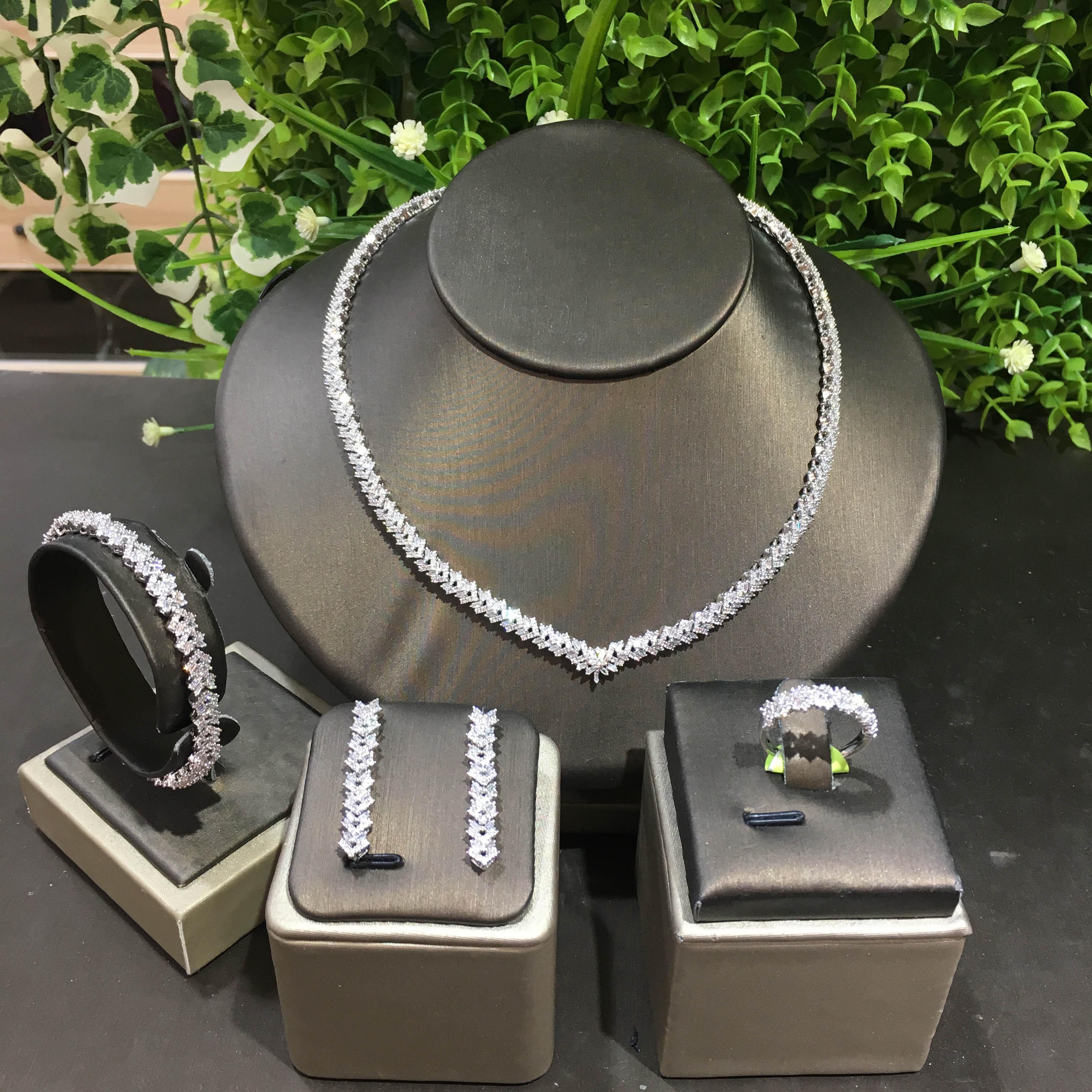 تيريم دبي الفاخرة أنيقة الزفاف قلادة مجموعة للنساء زركون مجوهرات الزفاف مجموعات للعرائس اكسسوارات jewelri