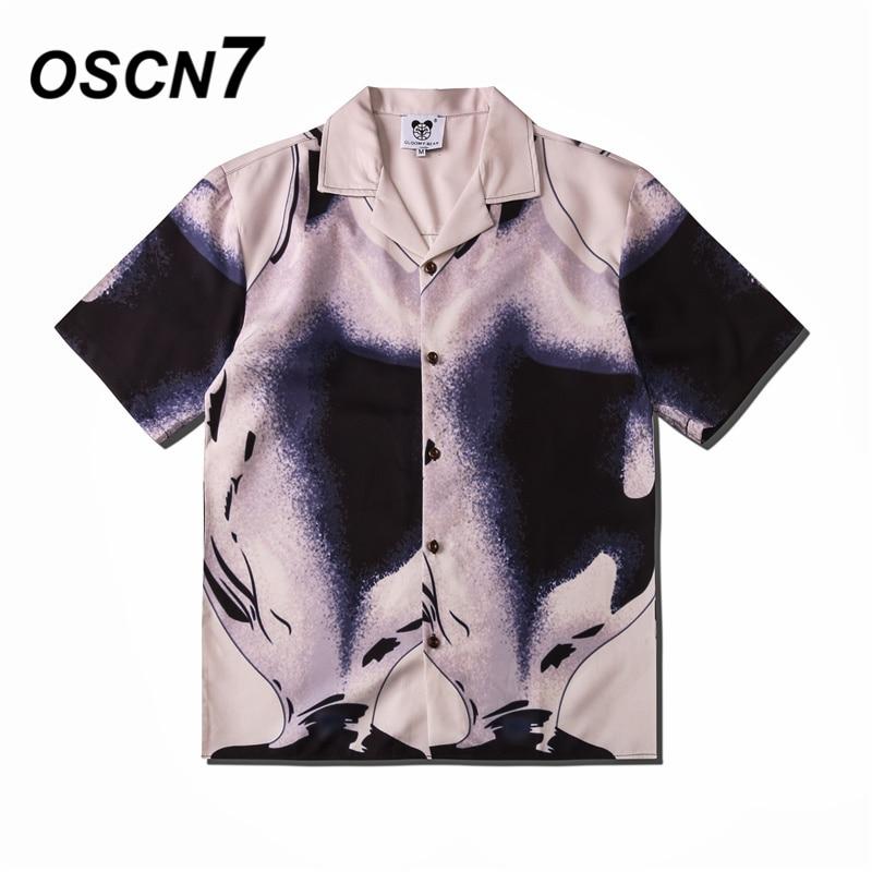 Oscn7 casual rua impresso manga curta camisa masculina 2020 hawaii praia oversize moda feminina harujuku camisas para homem csd08