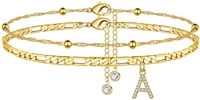 ankle bracelets for women 14k gold plated dainty layered figaro chain cz initial anklets summer jewelry gifts for women teen