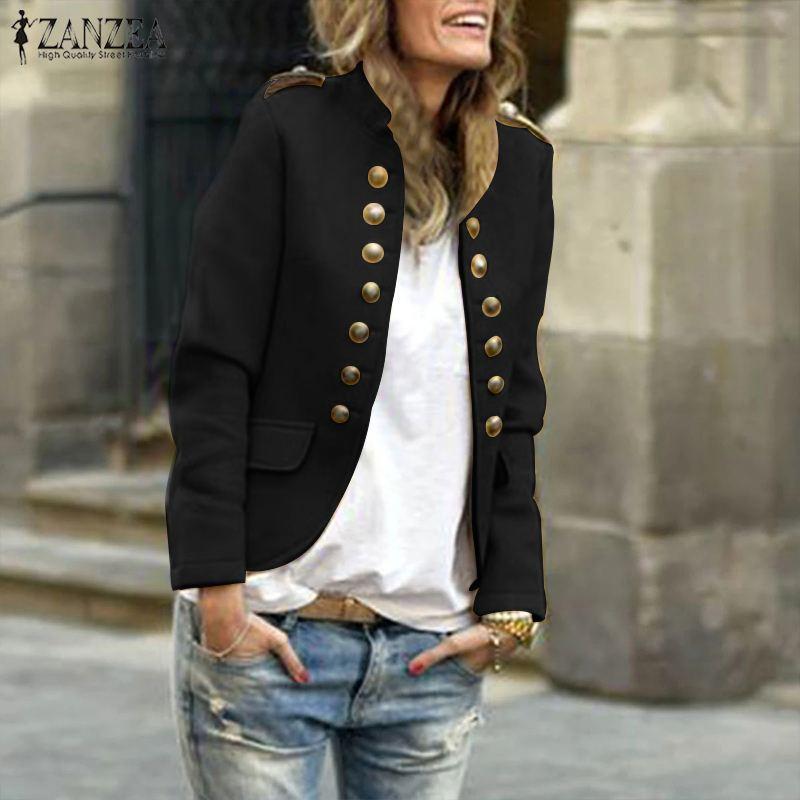 Women Coat 2020 Autumn Winter Stand Collar Long Sleeve Coats Office Lady Solid Jackets ZANZEA Female Overcoats Outwear Chaqueta