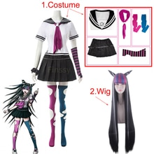 Anime Danganronpa Mioda Ibuki Costume Cosplay parrucca colorata in corno di diavolo per donna puntelli in Costume di carnevale di Halloween