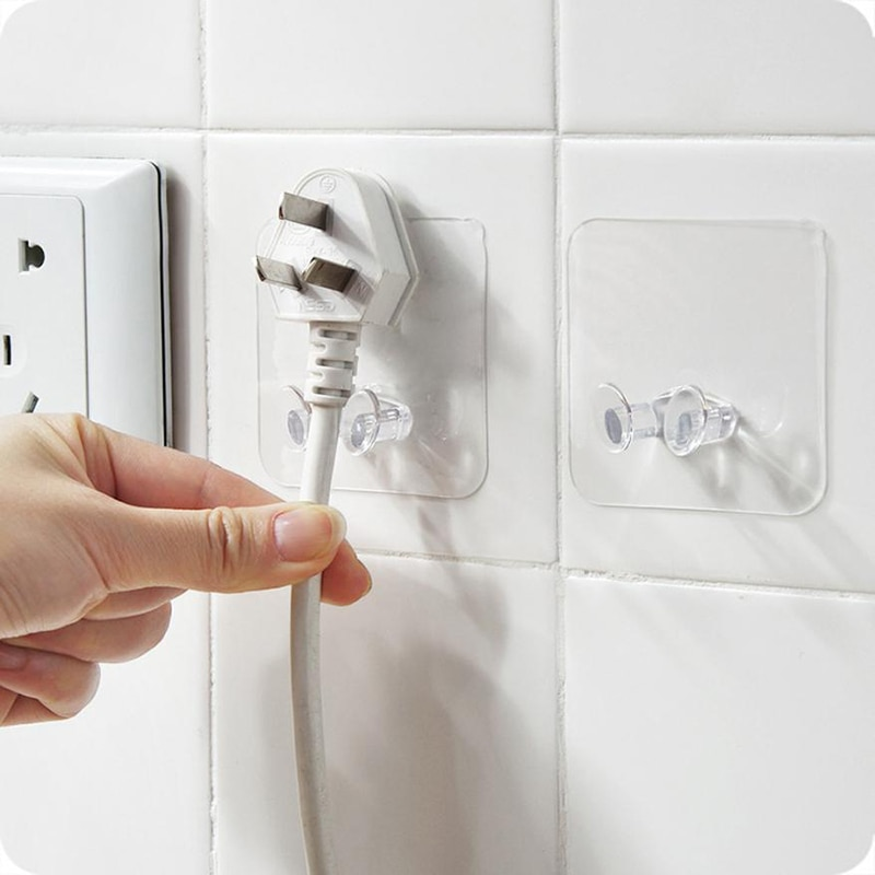 3/10PCS Power Plug Socket Hook Rack Holder Hanger Office Home Wall Decor UK H