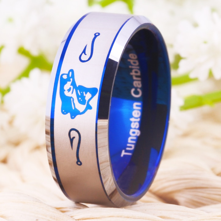 Envío Gratis USA UK Canadá Rusia Brasil gran oferta 8MM pesca anillo y anzuelos biselado nuevo anillo de boda de tungsteno para hombres