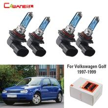 2 pares de faros delanteros Cawanerl 100W 9005 9006, lámpara halógena de alta potencia para Volkswagen Golf Hatchback 1997-1999