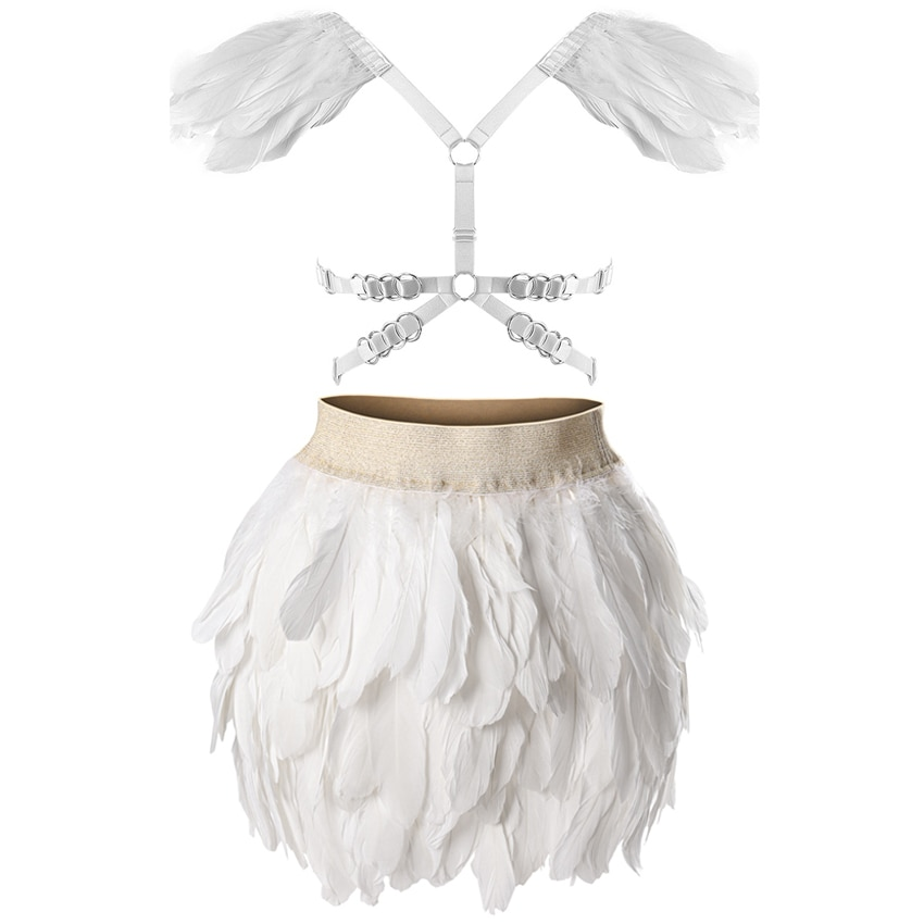 Epaulette de plumas de cintura elástica Mini A-line falda de moda Body Cage arnés Lencería Set Harajuku fetiche gótico danza Rave