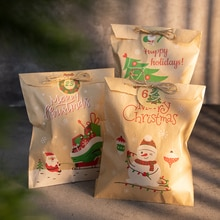 24Sets Christmas Kraft Paper Bags Santa Claus Snowman Fox Holiday Xmas Party Favor Bag Candy Cookie