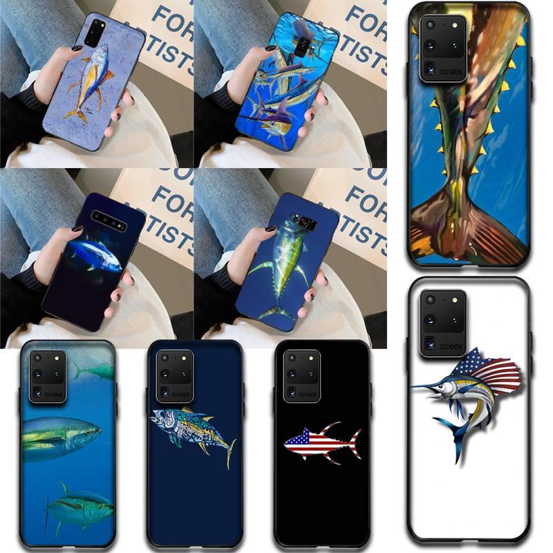 CUTEWANAN Blue Flag Tuna Soft Silicone Black Phone Case for Samsung S20 plus Ultra S6 S7 edge S8 S9