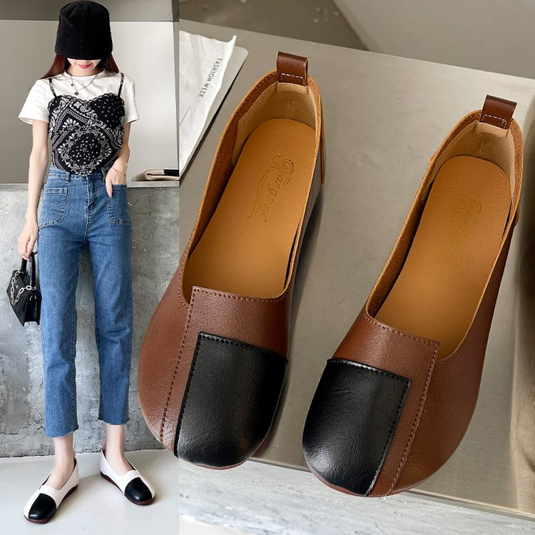 2021 Women Flats Contrast Color Slip On Mori Girl Casual Vintage Platform Shoes Spring Summer Fashio