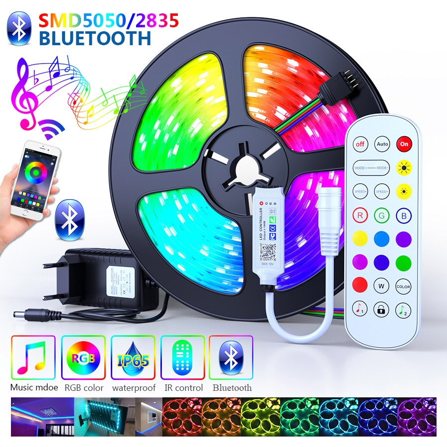 25M 30M Led Strip Lights 5050 Waterproof RGB DC 12V Flexible Tape Led Ribbon Led Strip 5M 10M 15M 20M With Phone Bluetooth APP