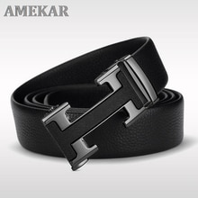 Belt men's leather automatic buckle top layer leather belt 21 new youth h buckle fashion Joker pure