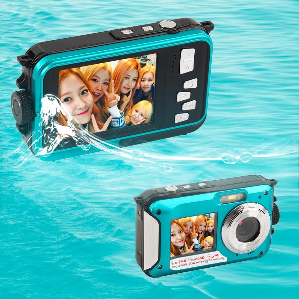 Novo 2.7 polegada tft câmera digital à prova d24água 24mp max 1080 p tela dupla 16x digital zoom camcorder built-in altifalante micphone