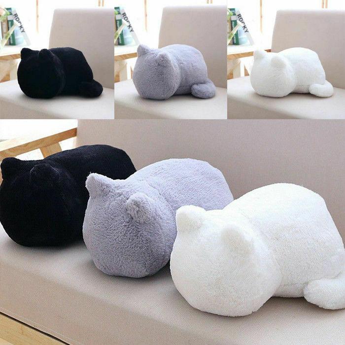 Cojín de gato lindo de dibujos animados de peluche, almohada de algodón, regalos de muñecas, decoración del hogar, accesorios para sofá cama