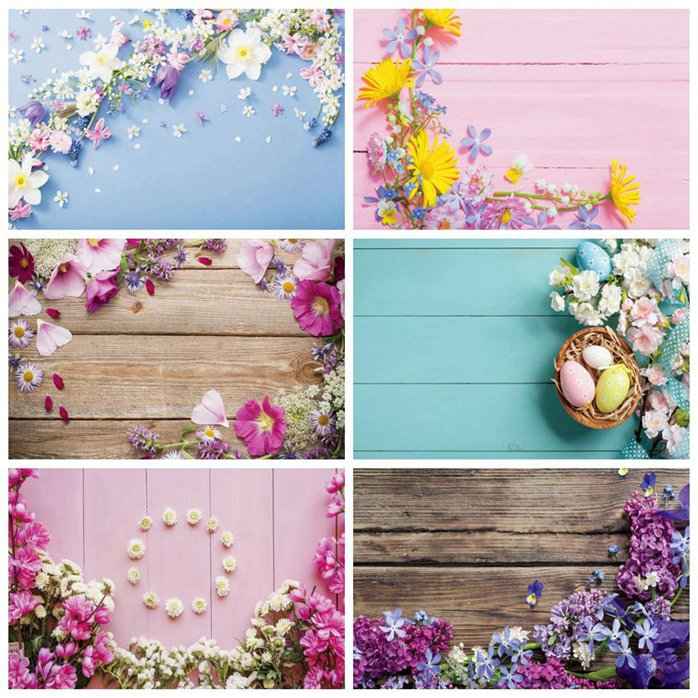 Spring Flower Easter White Wood Board Baby Shower Birthday Backdrop Wedding Photography Background For Photo Studio Photophone