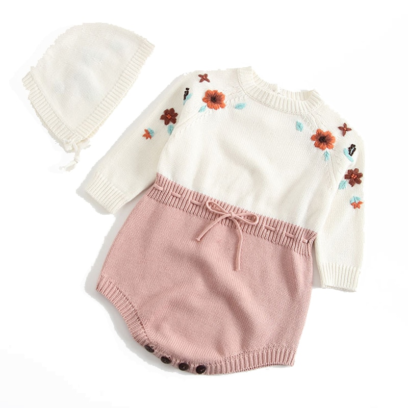 1 set 0-2 Years Old Baby Girl Romper with Hat Shorts Crawl Clothes Child Autumn Cotton Romper For Baby Girls Clothes