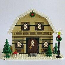Buildmoc Stad Schepper Winter Dorp Vakantie Scène Huis Kerstman Elanden Bouwstenen Bakstenen Kinderen Speelgoed Gift 10267 10631