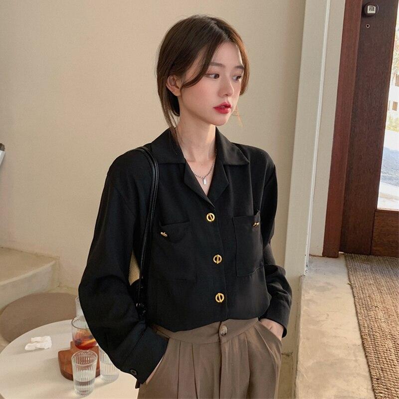 Suit Collar Shirt Autumn 2021 New Hong Kong Salt Design Sense Black Fashion Long Sleeve Top Women's