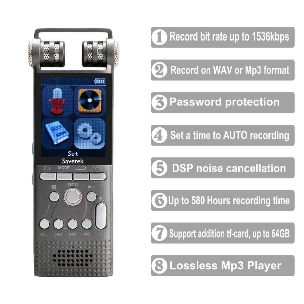 Professional Voice Activated Digital Audio Recorder 16GB 8GB USB Pen Non-Stop 100hr Recording PCM 1536Kbps External Microphone enlarge