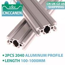 2Pcs 2040 Aluminium Profiel Extrusie Europese Standaard Lineaire Rail Aluminium Profiel 2040 Extrusie 2040 Voor Cnc 3D Printer Onderdelen