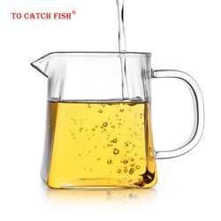 Термостойкая прозрачная стеклянная чашка cha hai, 350 мл, китайские чайные чашки ручной работы, кунг-фу, чайная чаша gongdao bei, Кувшин с ручкой
