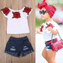 Pudcoco 2pcs Fashion Toddler Kids Baby Girls 3d Flower Rufles Tops Denim Hot Pants Outfits Clothes Set 1-6y